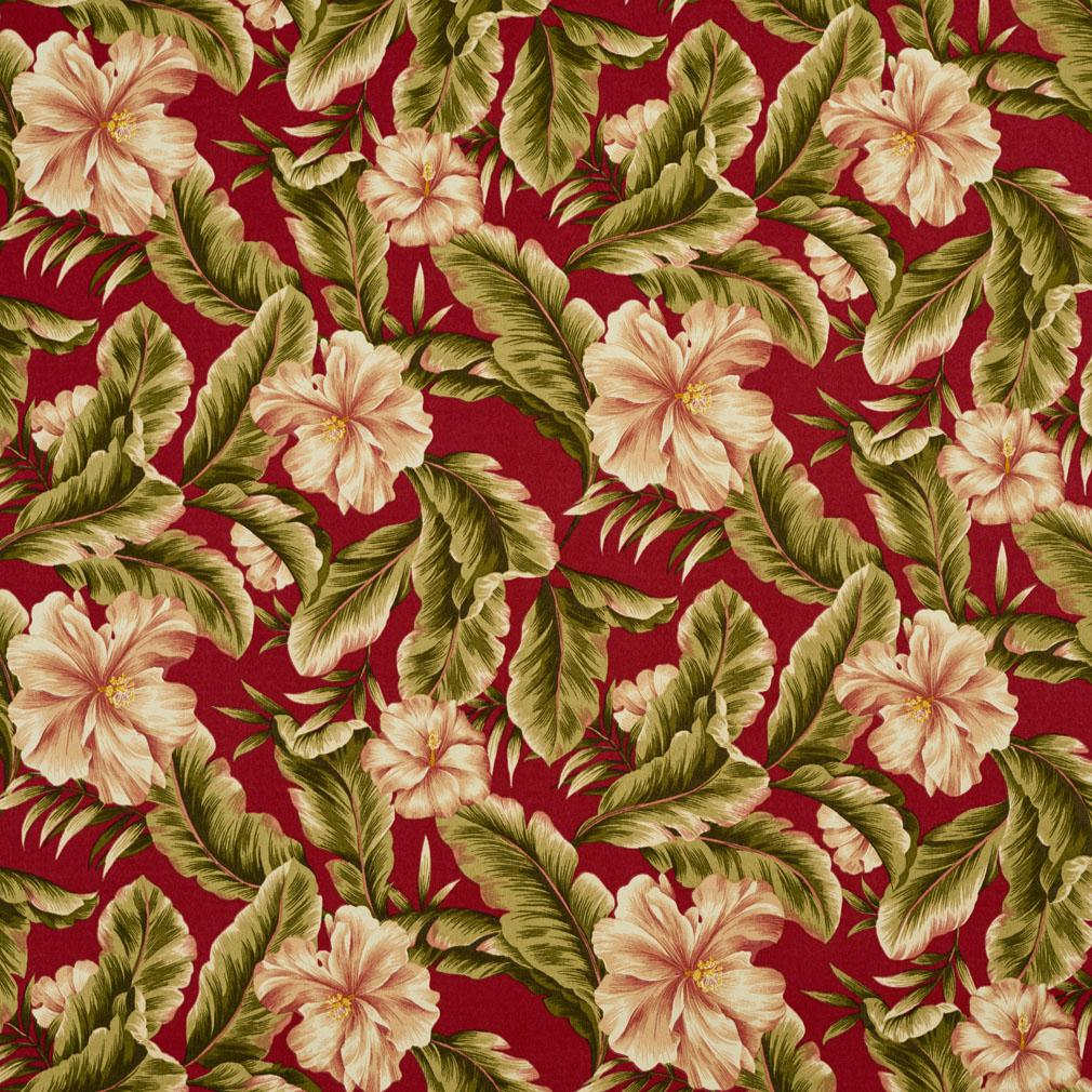 Palm Springs Burgundy And Dark Green Floral Print Drapery
