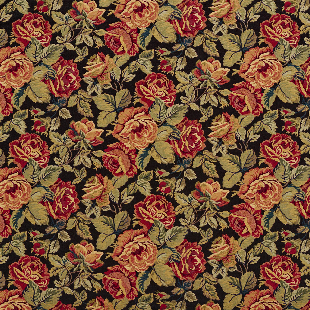 Garden Black And Burgundy Floral Tapestry Jacobean