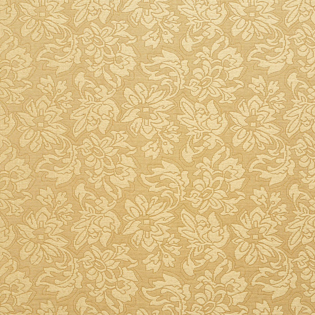 Gold Yellow Floral Cloque Brocade Upholstery Fabric