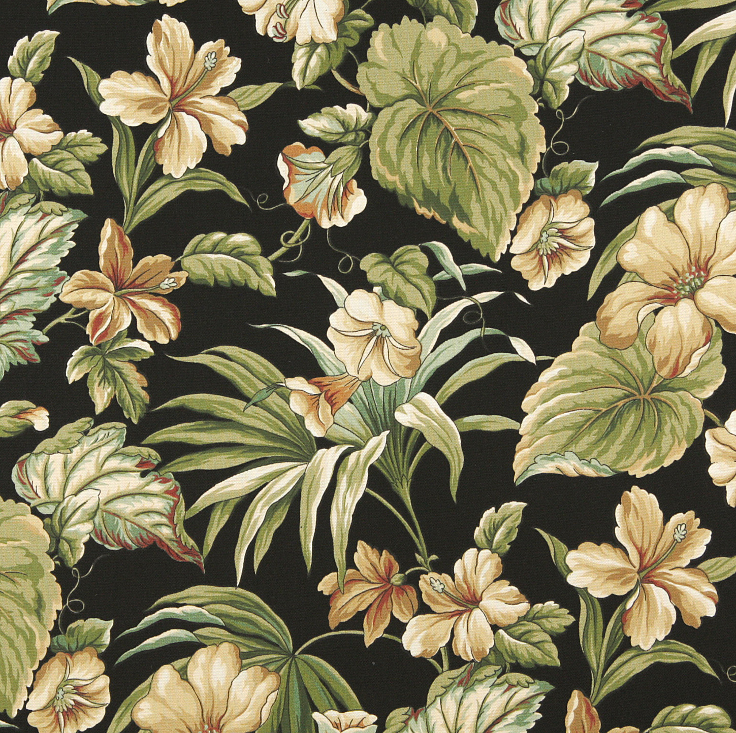 Rio Beige And Black Floral Marine Upholstery Fabric