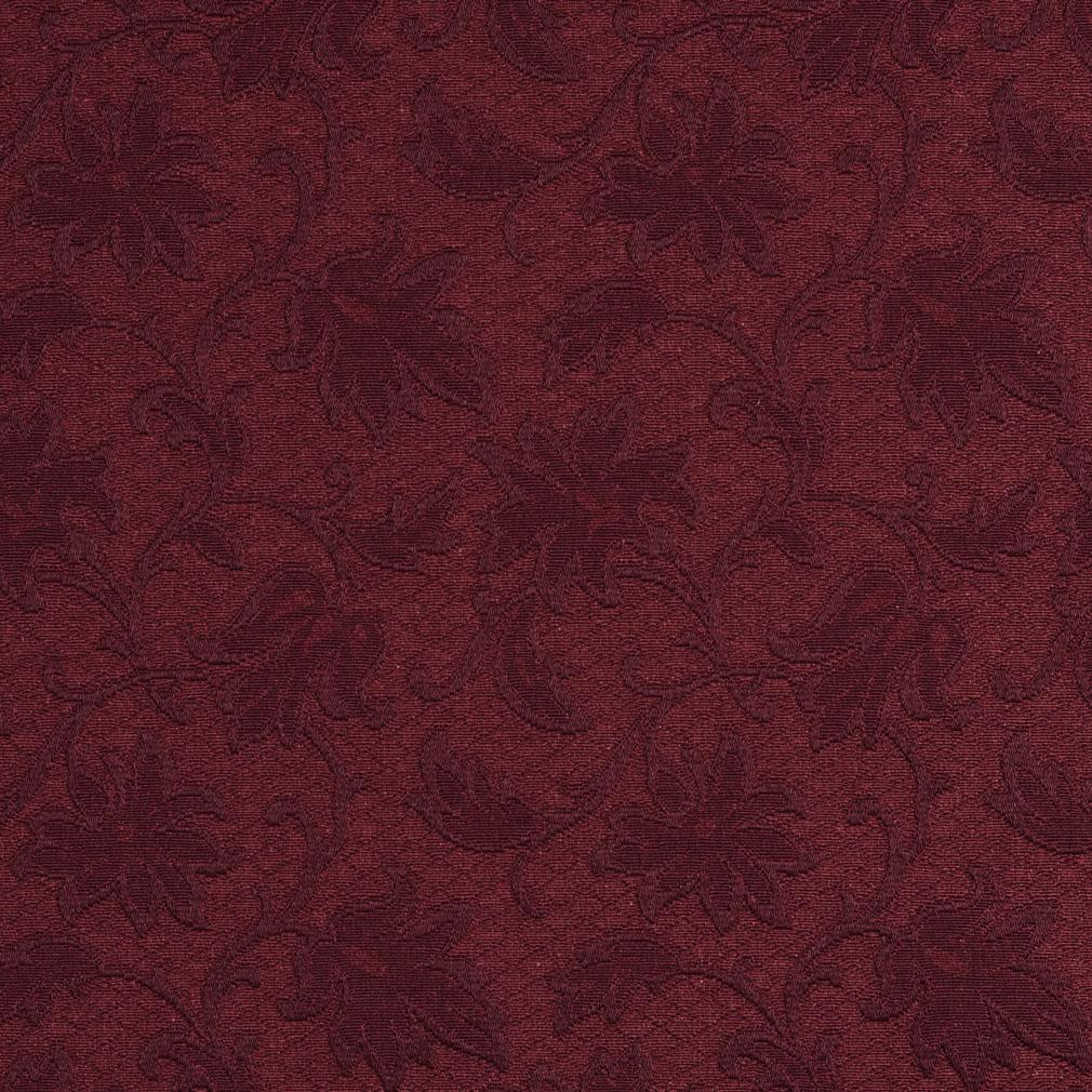 Wine Dark Red Burgundy Floral Swirl Brocade Upholstery Fabric