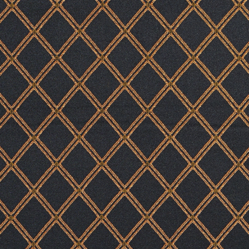 Onyx Black And Gold Classic Decorative Diamond Mesh Damask