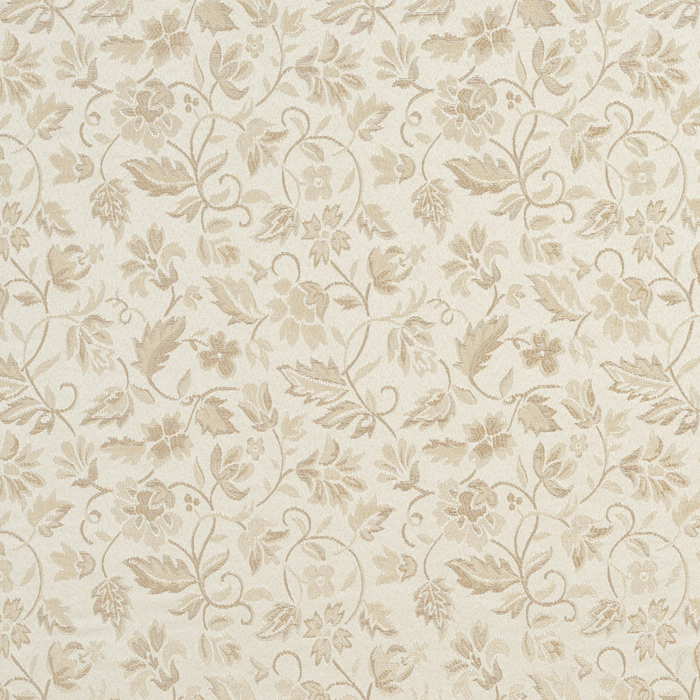Ivory White Small Floral Leaf Damask Upholstery Fabric