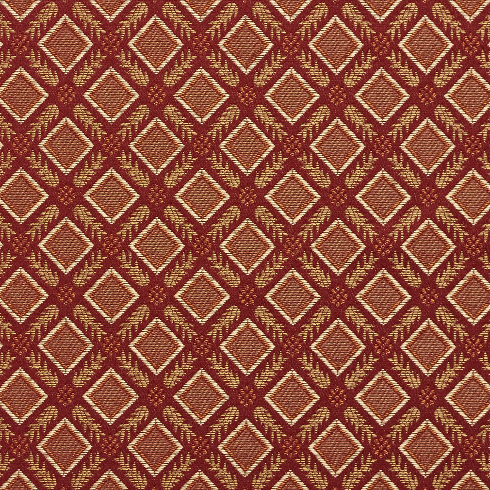 Brandy Beige And Burgundy Dimond Trellis Leafs Accent