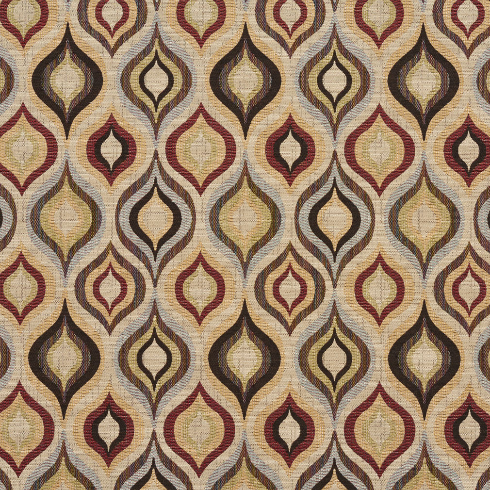 Beige And Black Green Ogee Tapestry Upholstery Fabric