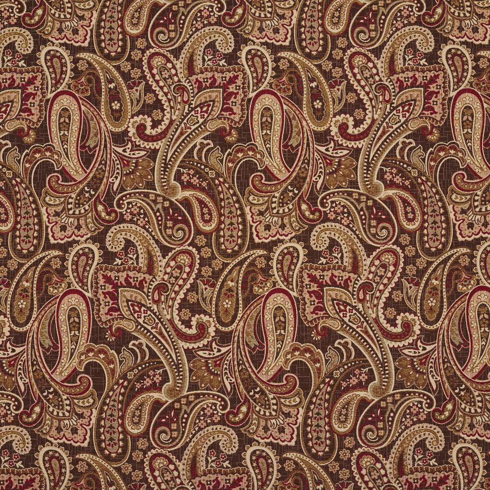 Adobe Beige And Brown Modern Paisley Tapestry Upholstery