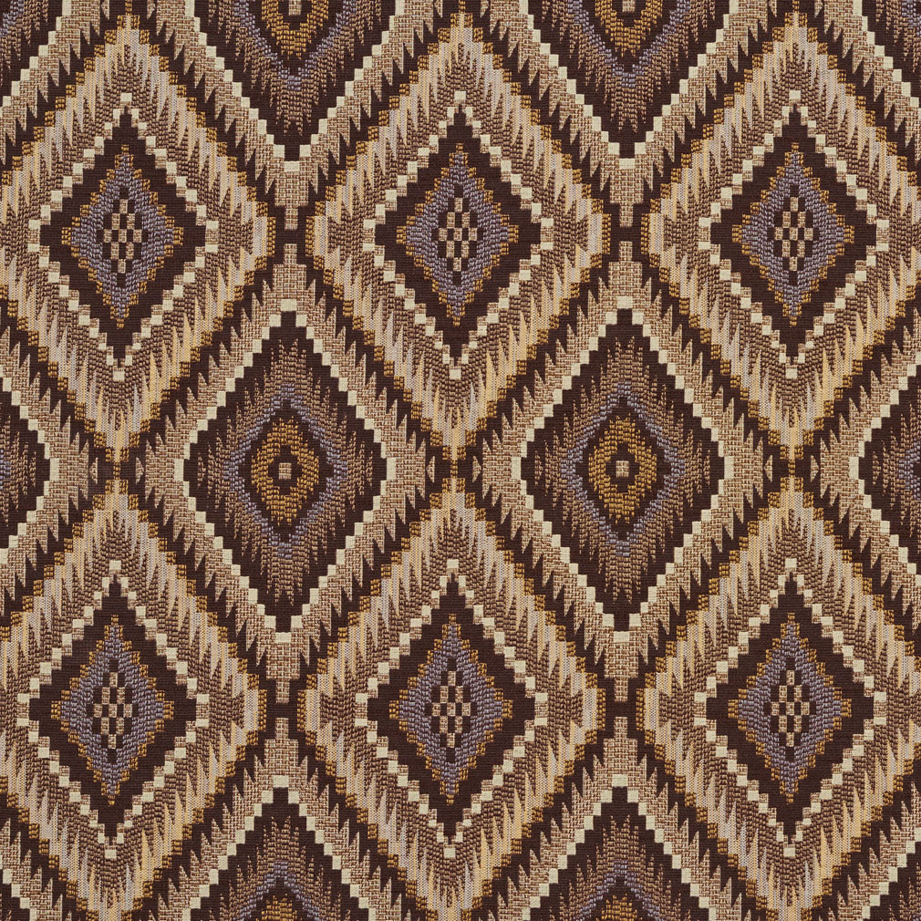 Beige And Brown Southwestern Diamond Tapestry Upholstery
