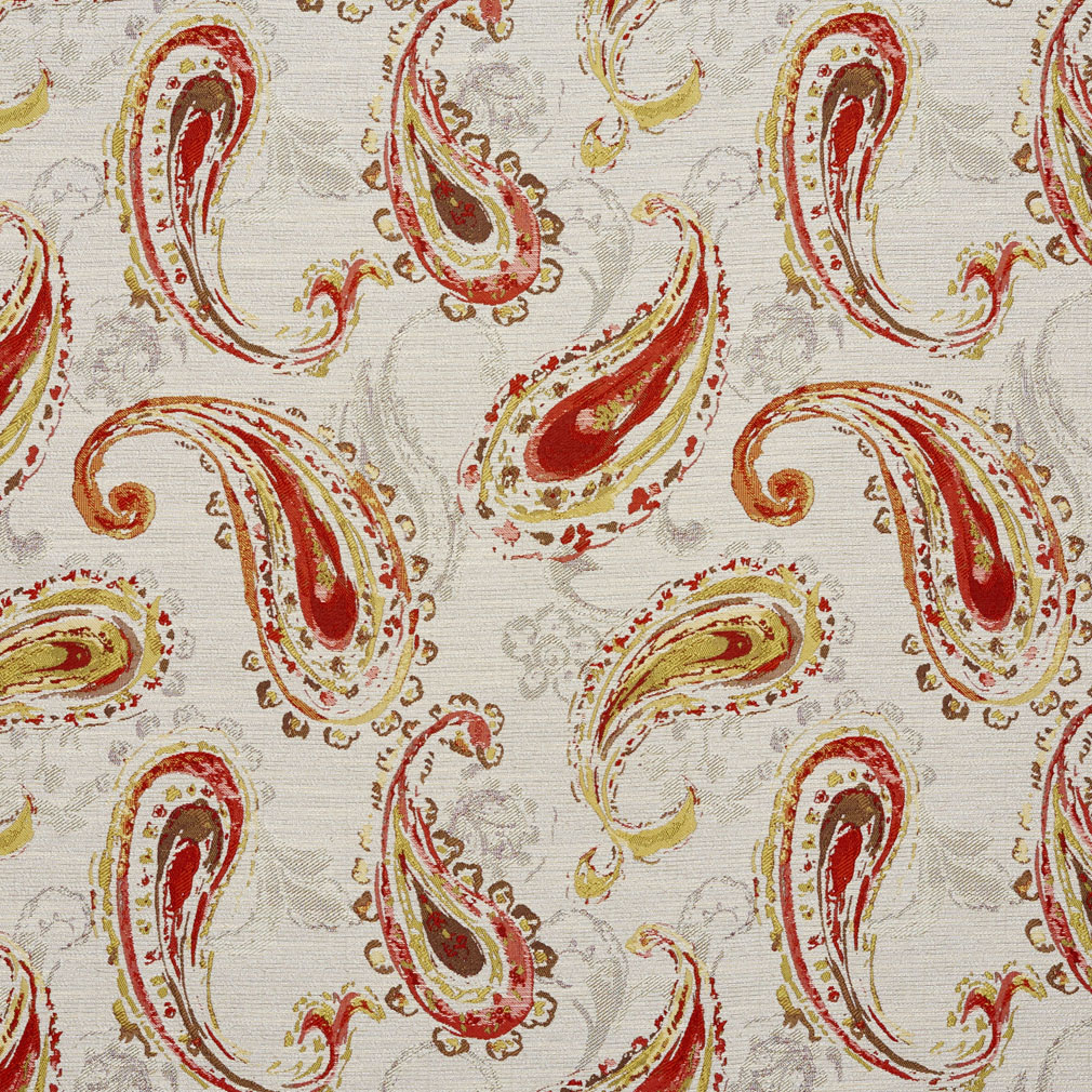 Tan And Coral Paisley Contemporary Damask Upholstery Fabric