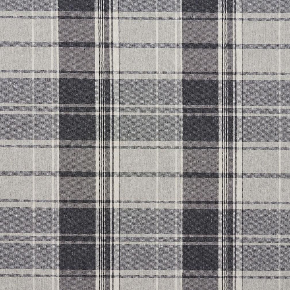 Sterling Gray And White Plaidcountry Damask Upholstery Fabric