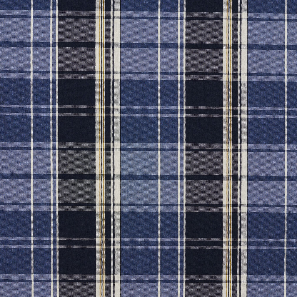Dark Blue And Light Blue Plaid Country Damask Upholstery