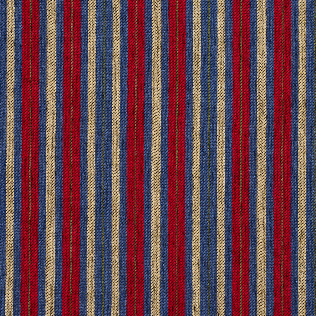 Beige Blue And Burgundy Stripe Country Damask Upholstery