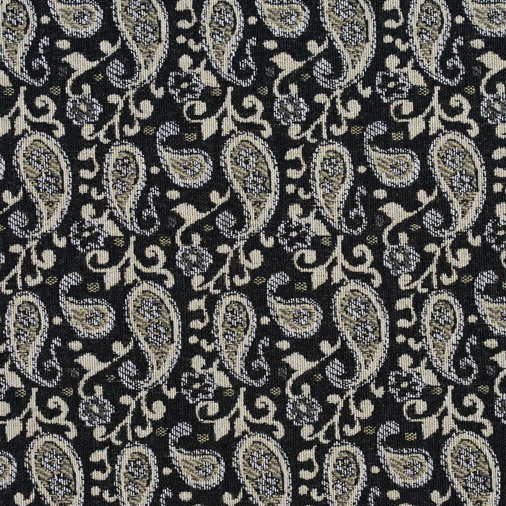 Black Onyx And Cream Scroll Paisley Upholstery Fabric