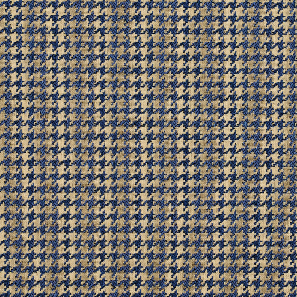 Beige And Navy Blue Houndstooth Tapestry Upholstery Fabric