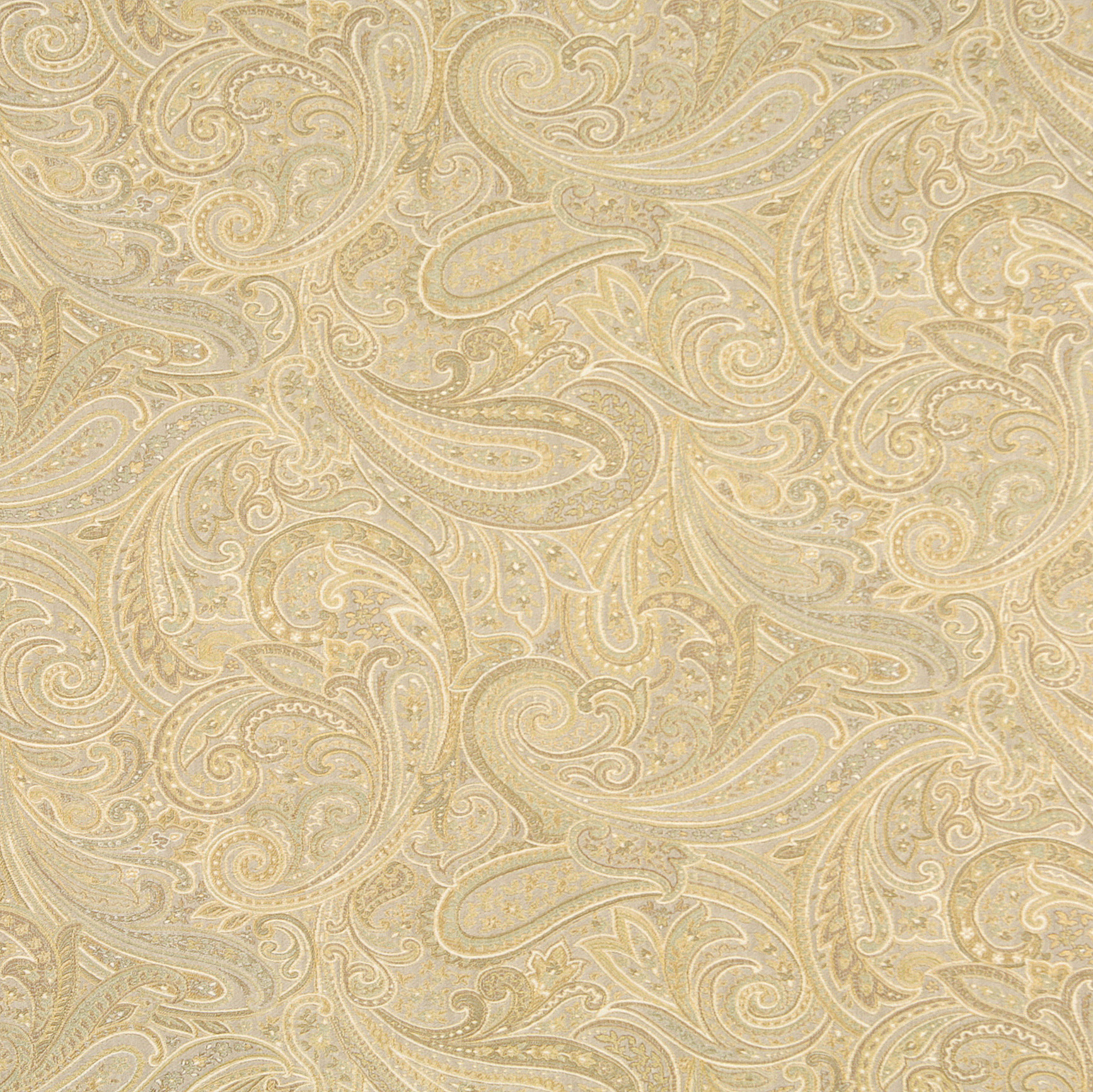 Soft Beige And Gold Abstract Paisley Damask Upholstery Fabric