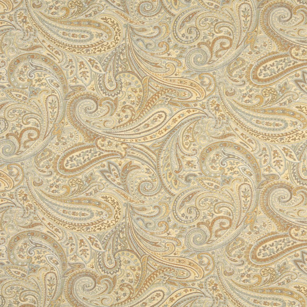 light beige and gold abstract paisley damask upholstery fabric