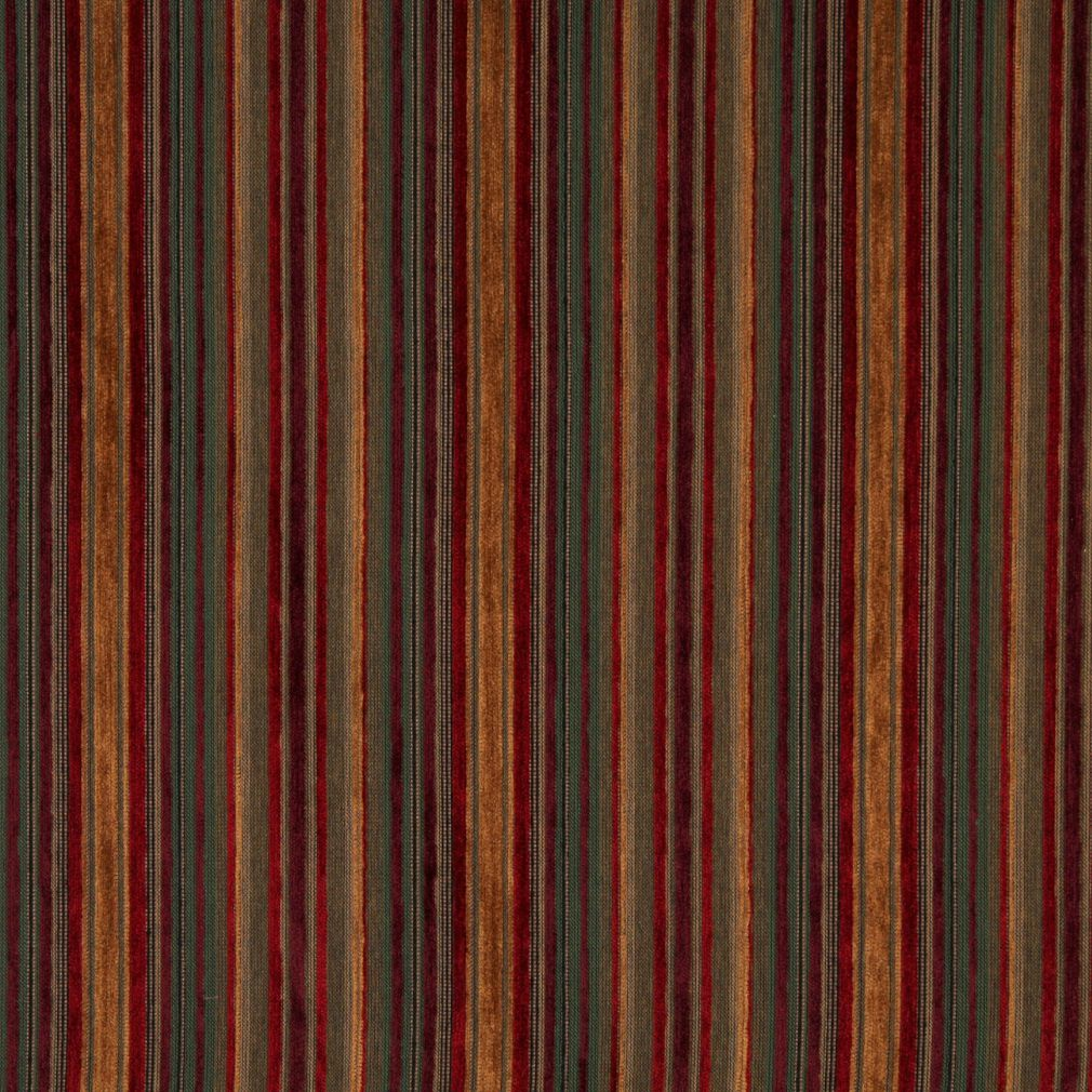 Ruby Beige And Burgundy Small Scale Stripe Chenille