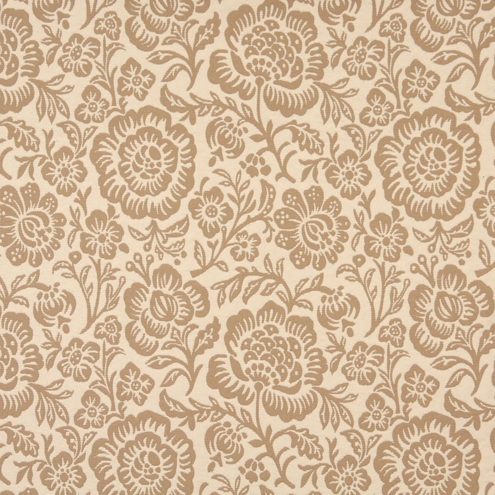 Cream Beige Large Artistic Flowers Brocade Upholstery Fabric