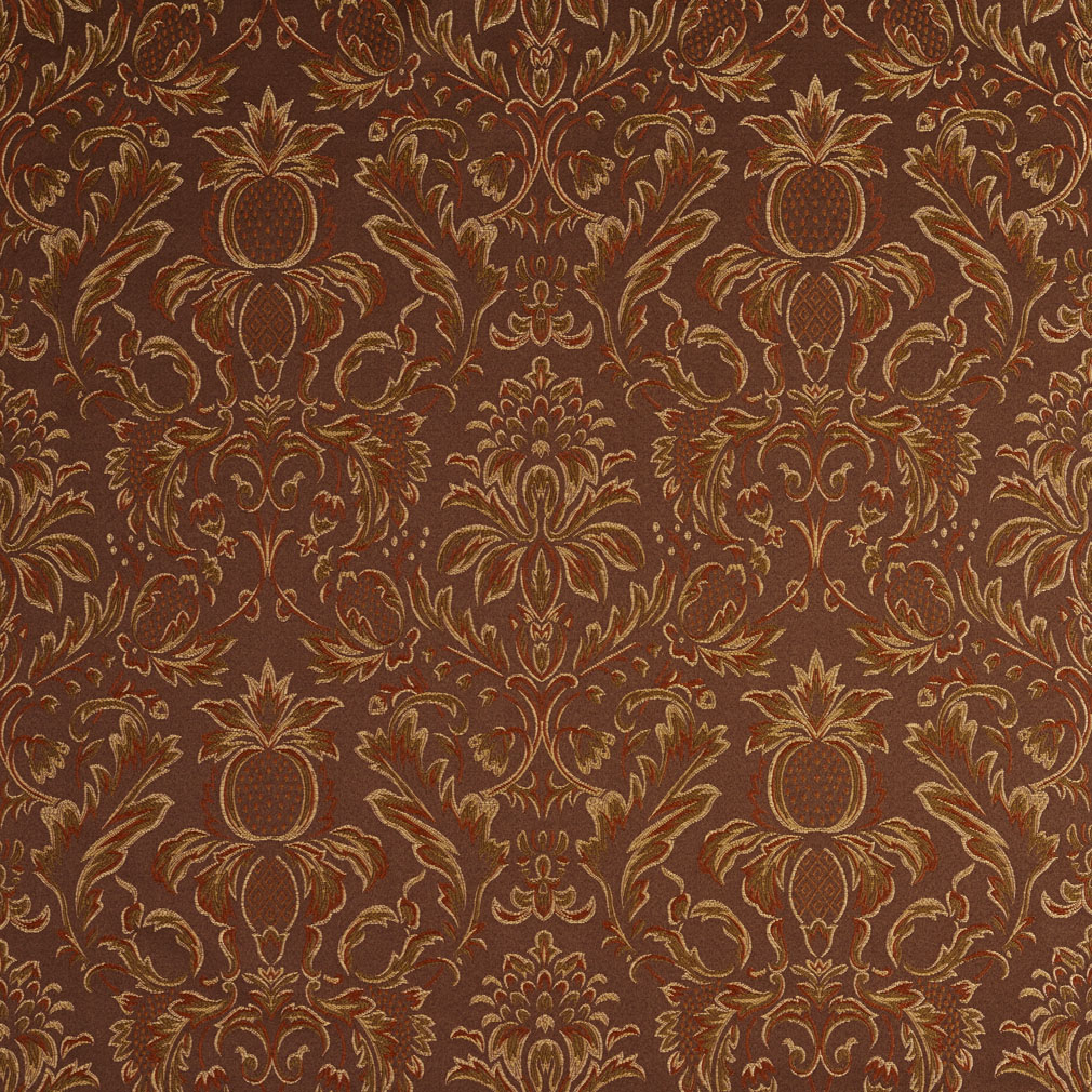 Sable Brown And Dark Green Heirloom Damask Upholstery Fabric