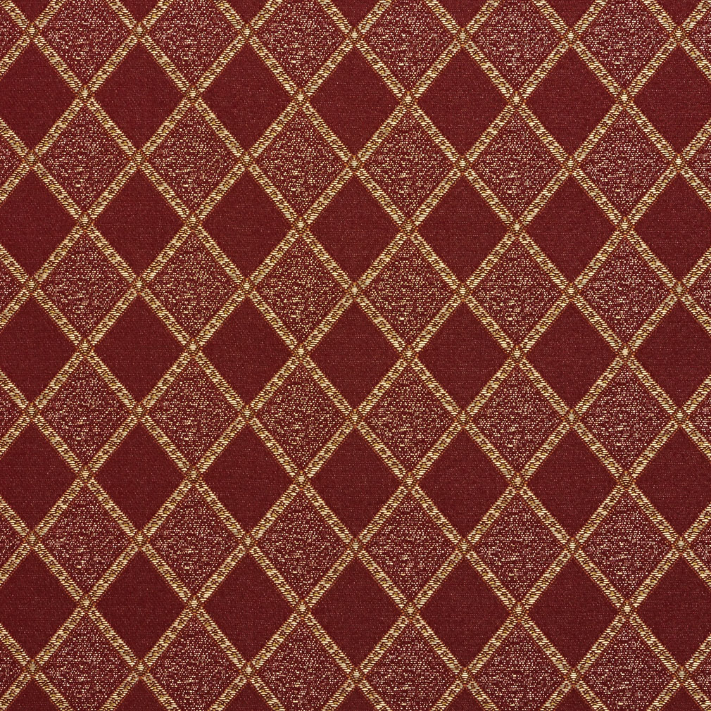 Wine Burgundy And Beige Diamond Geometric Damask Upholstery Fabric