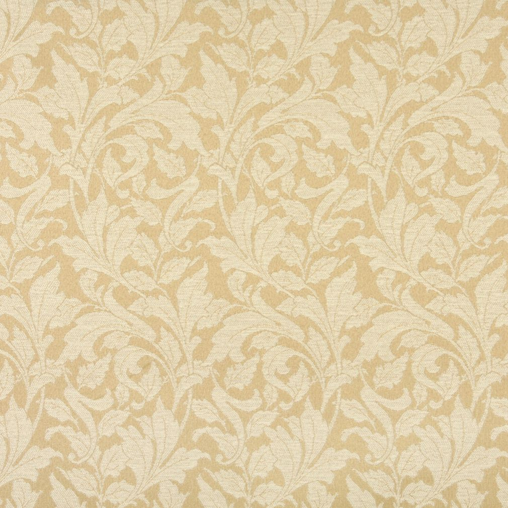 Sand Beige And Gold Classic Vine Foliage Damask Upholstery