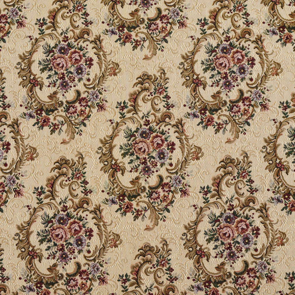 Ecru beige and red burgundy vintage floral victorian for Floral upholstery fabric