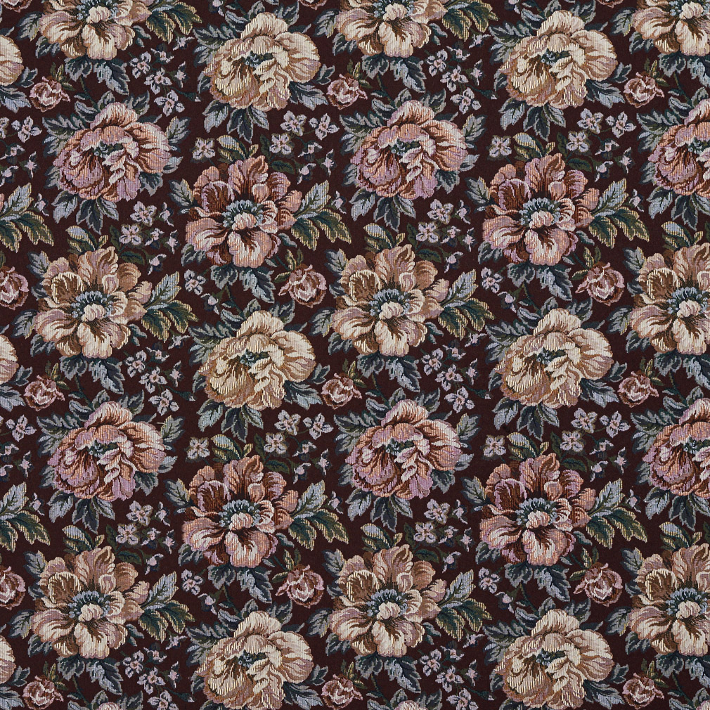 Tan Beige and Burgundy Floral Rose Tapestry Upholstery Fabric