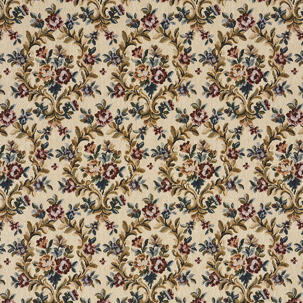 Yellow beige and pink floral heirloom vintage tapestry for Floral upholstery fabric