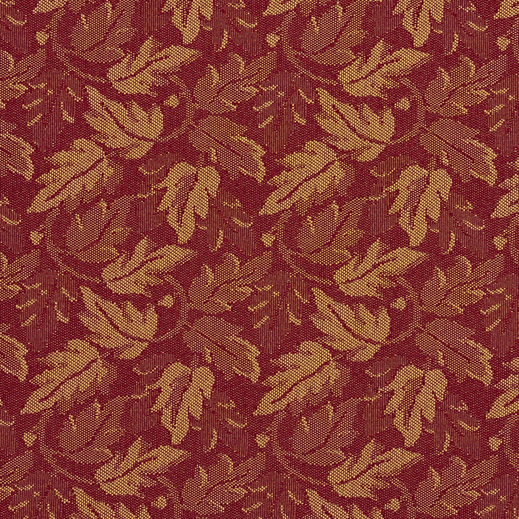 Red Burgundy Leaf And Gold Foliage Crypton Upholstery Fabric