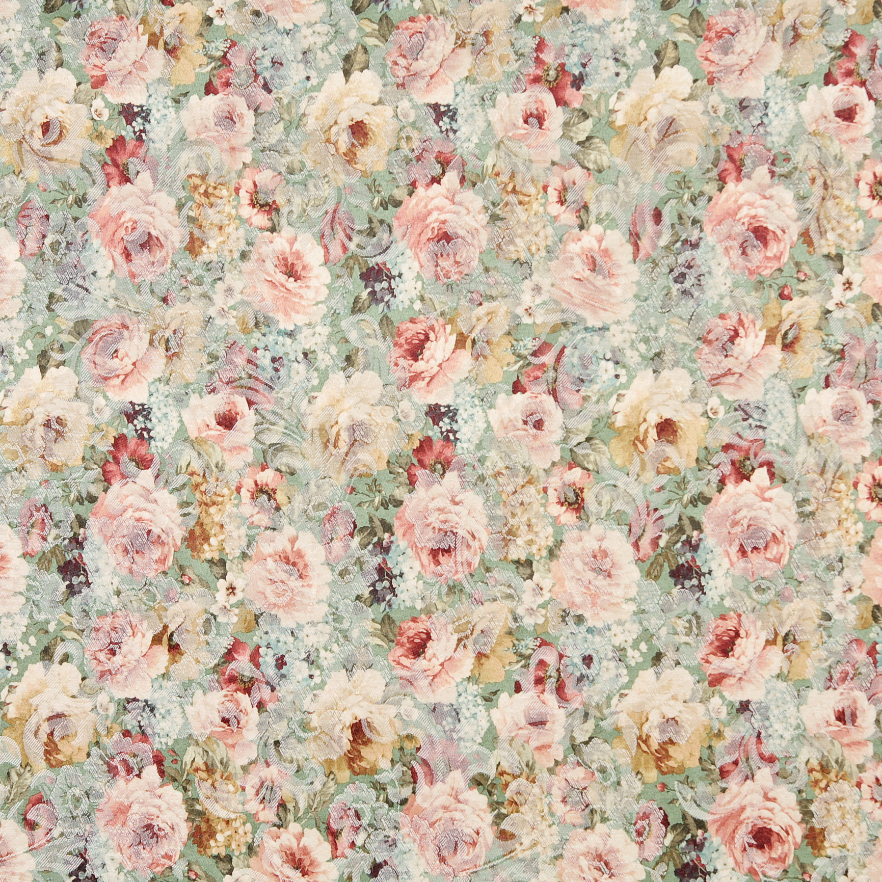 Pastel rose and aqua victorian woven floral accent damask for Victorian floral fabric