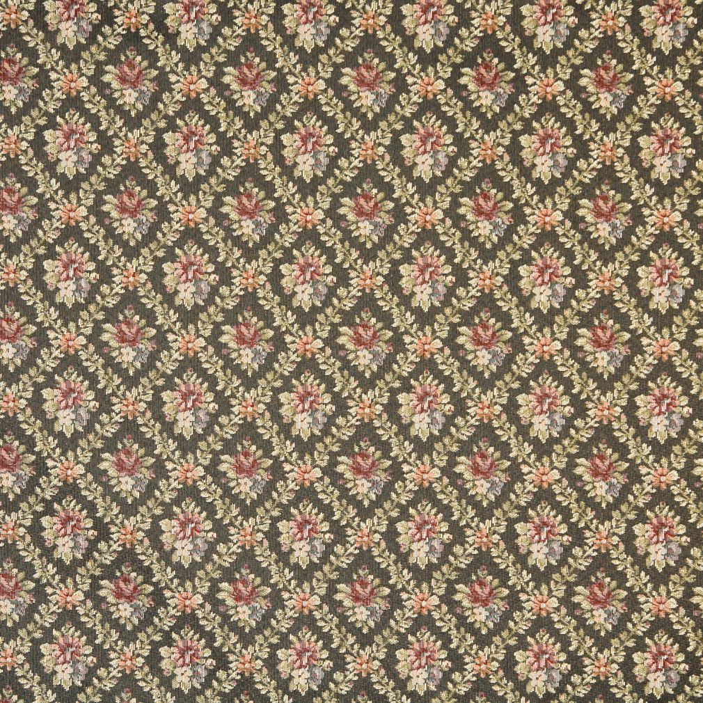 Fern Green and Burgundy Dimond Floral Country Upholstery