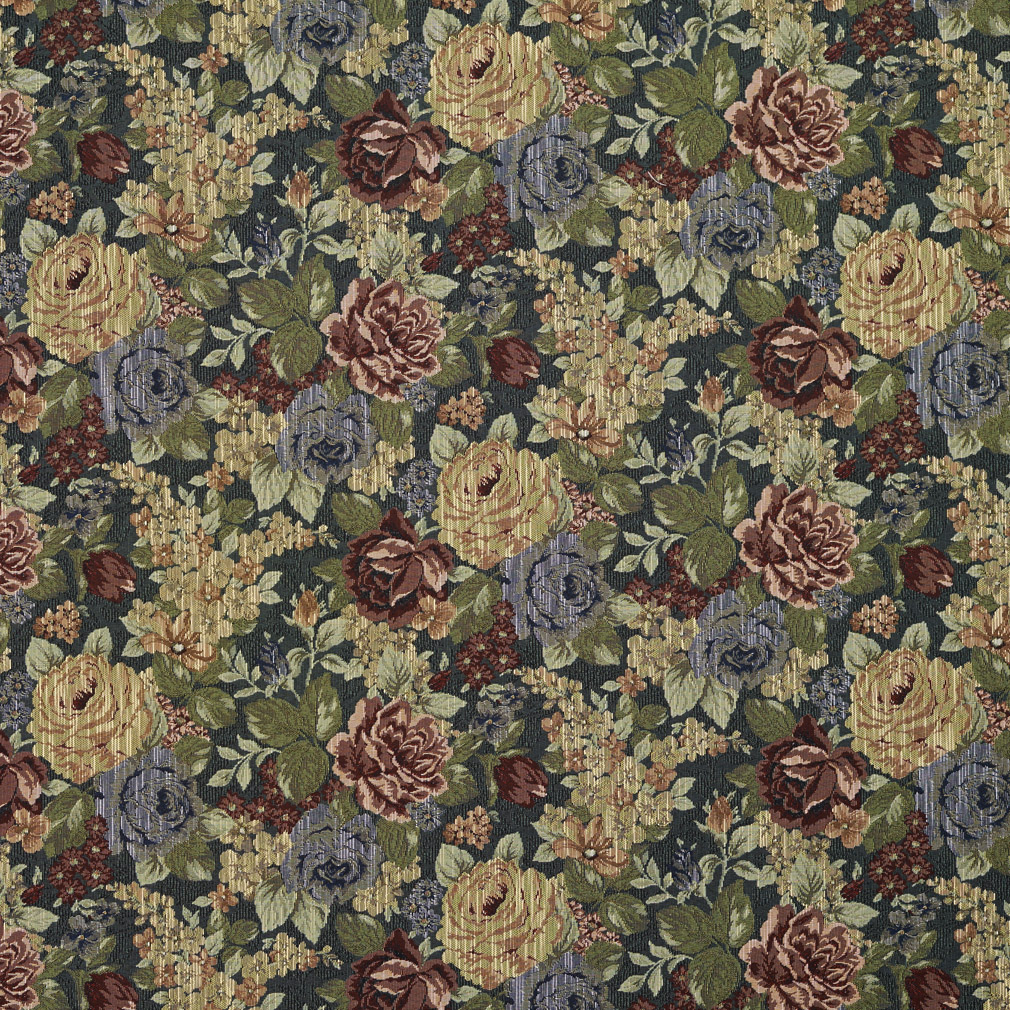Yellow Burgundy And Dark Green Floral Vintage Tapestry Upholstery