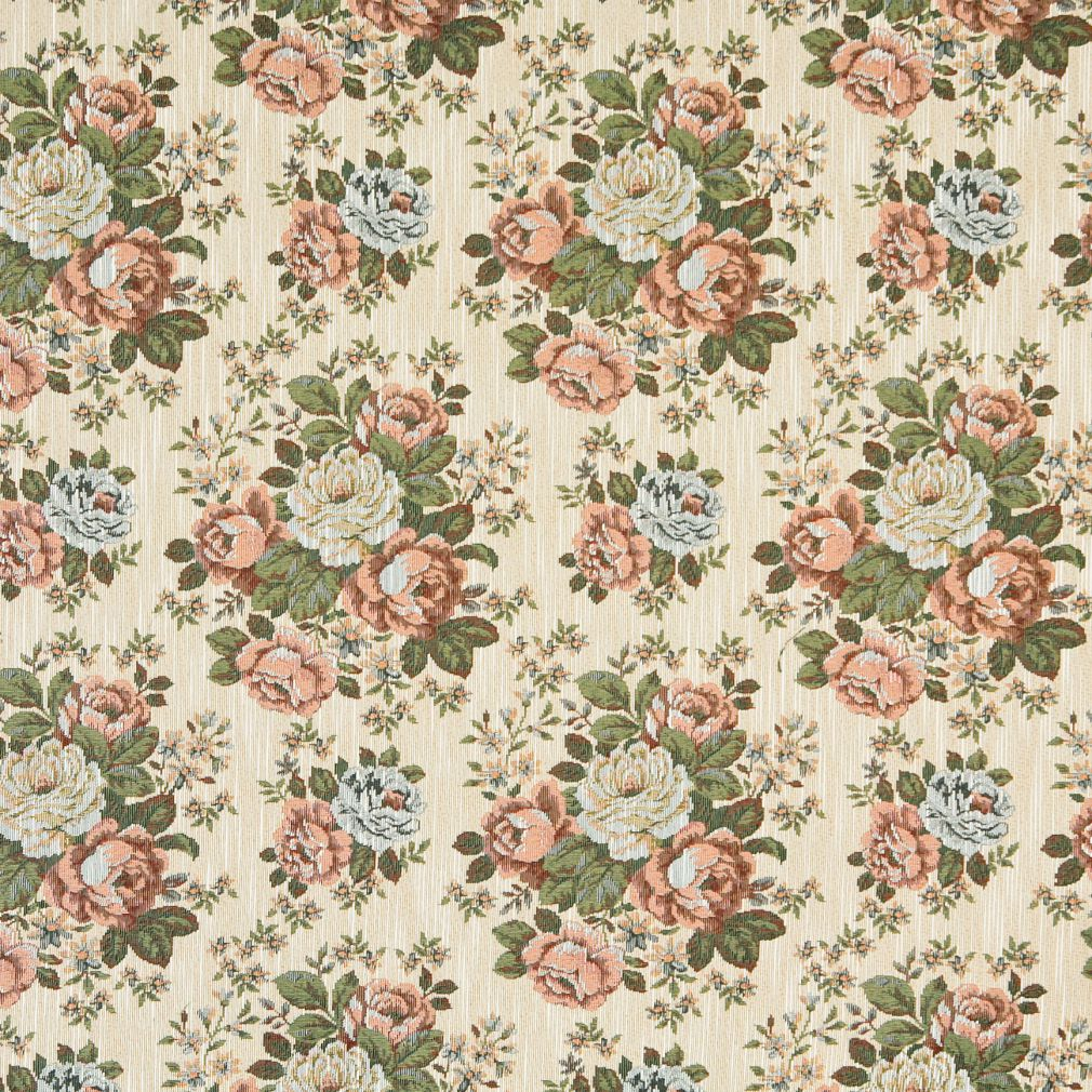 Coral And Dark Green Victorian Floral Design Upholstery Fabric