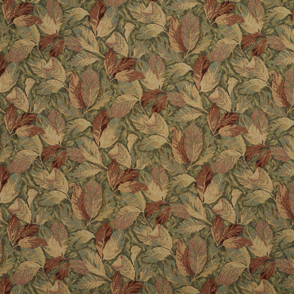 Green Tan And Coral Autumn Foliage Upholstery Fabric
