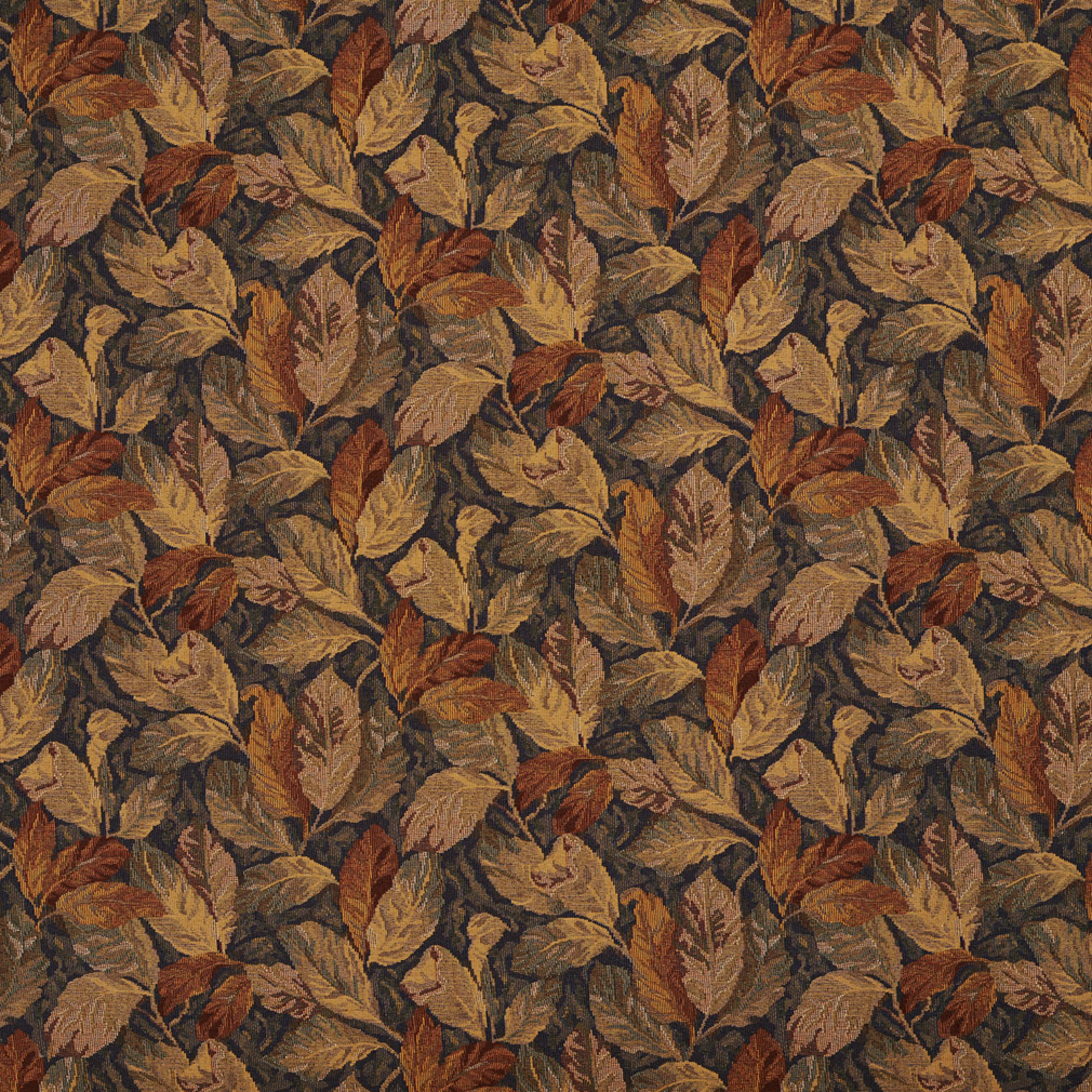 Brown Beige And Coral Autumn Foliage Upholstery Fabric