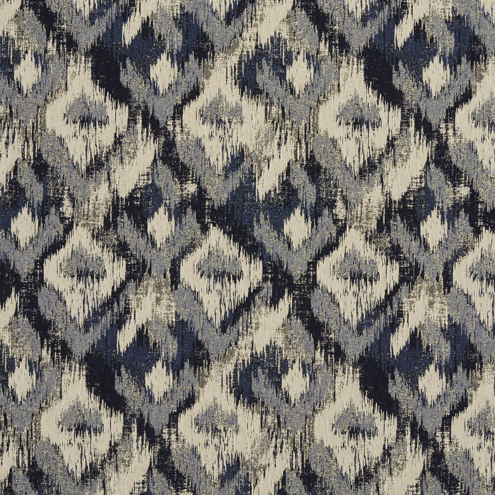 Beige And Black Abstract Diamond Damask Upholstery Fabric