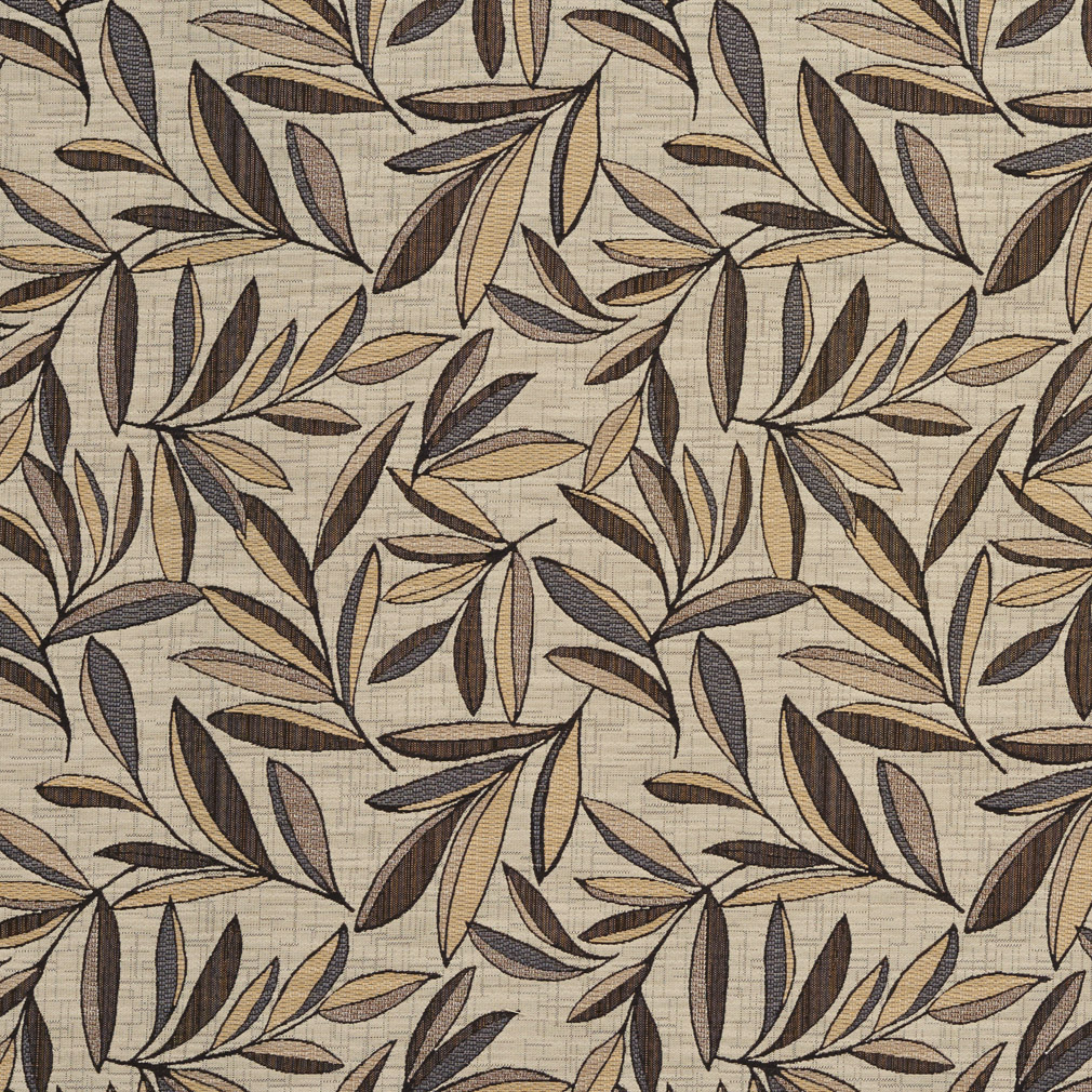 Chateau Beige Grey And Gold Foliage Leaf Woven Damask