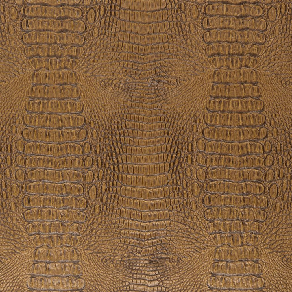 Brown And Gold Reptile Skin Texture Vinyl Upholstery Fabric