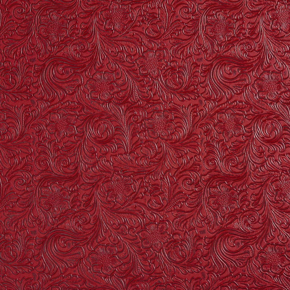 Burgundy Red Floral Embossed Vinyl Upholstery Fabric