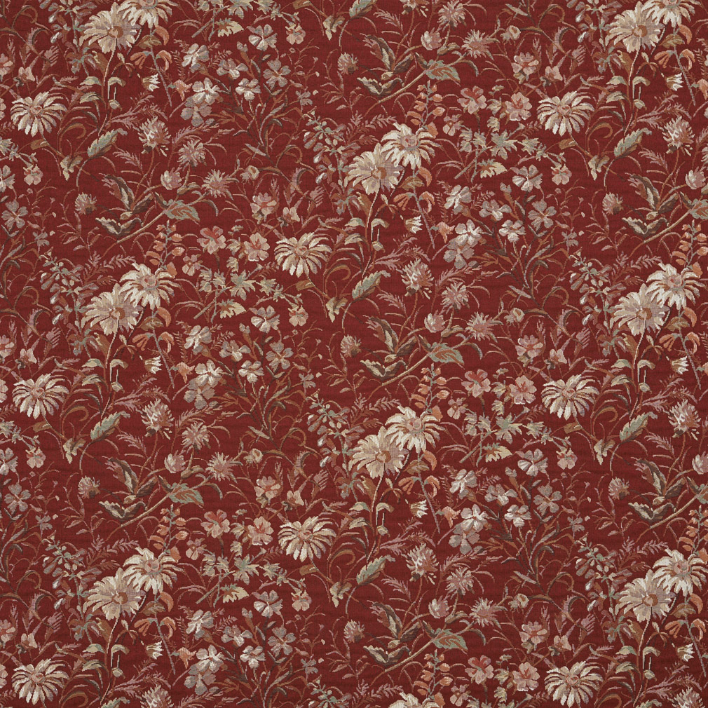 Ruby Beige And Burgundy Red Floral Meadow Contemporary