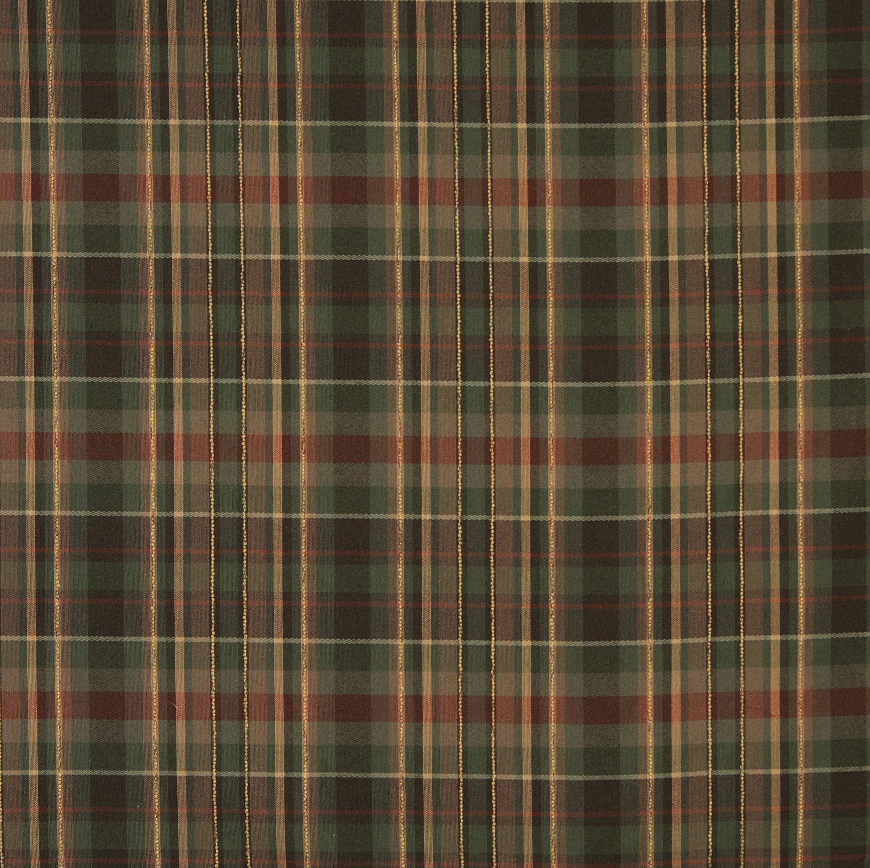 Brown Forest Green And Coral Country Plaid Linen