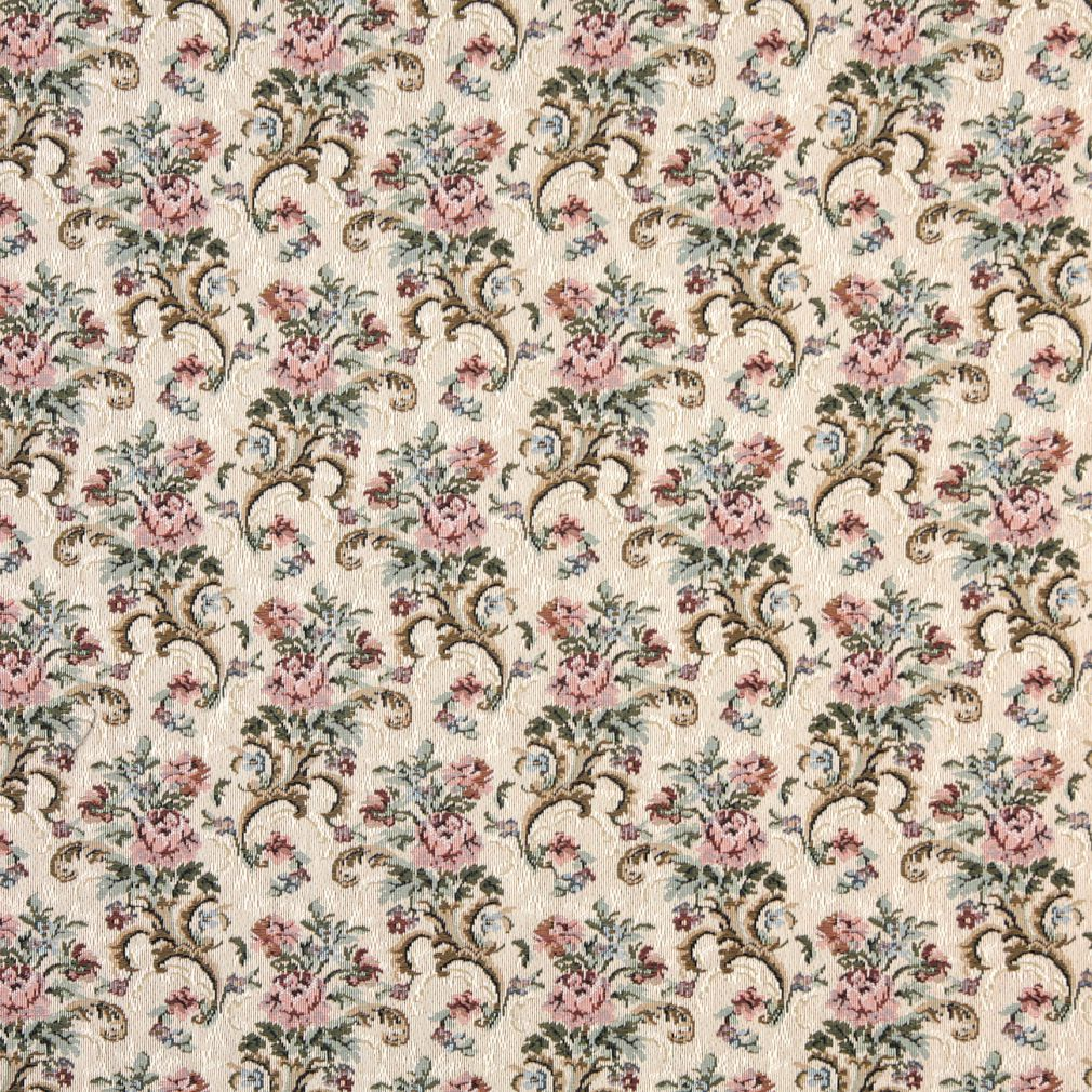 Rose Aqua And Gold Floral Foliage Tapestry Upholstery Fabric