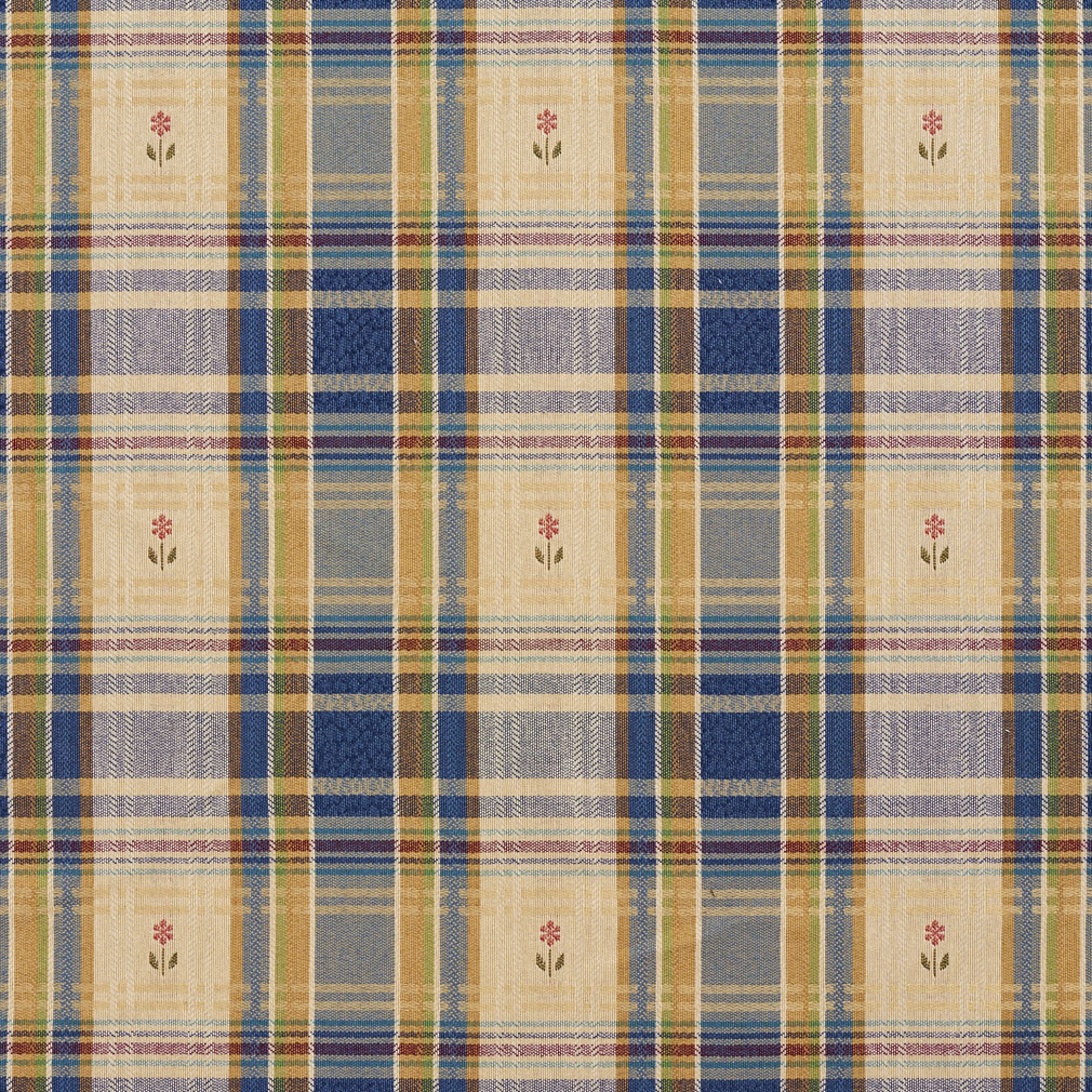 Beige And Dark Blue Country Plaid Damask Upholstery Fabric