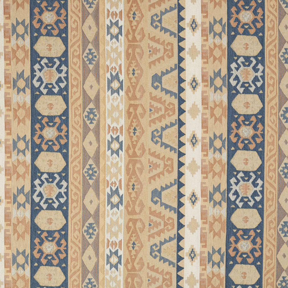 Sand Beige Tan And Coral Blue Vintage Look Aztec Cabin