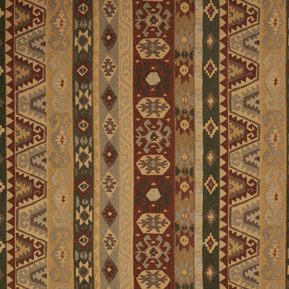 Gold And Green And Red Coral Aztec Cabin Southern Chenille