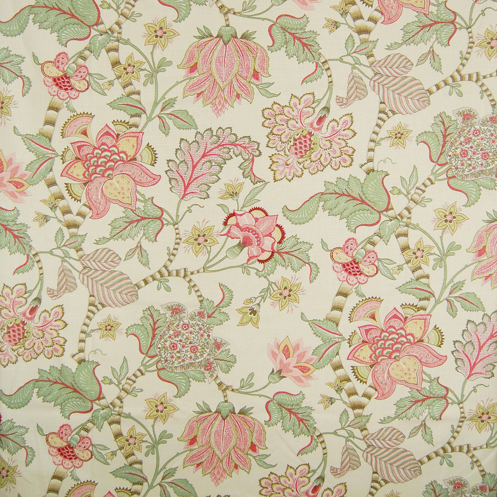 English Cream Pink Floral Made In Usa Upholstery Fabric