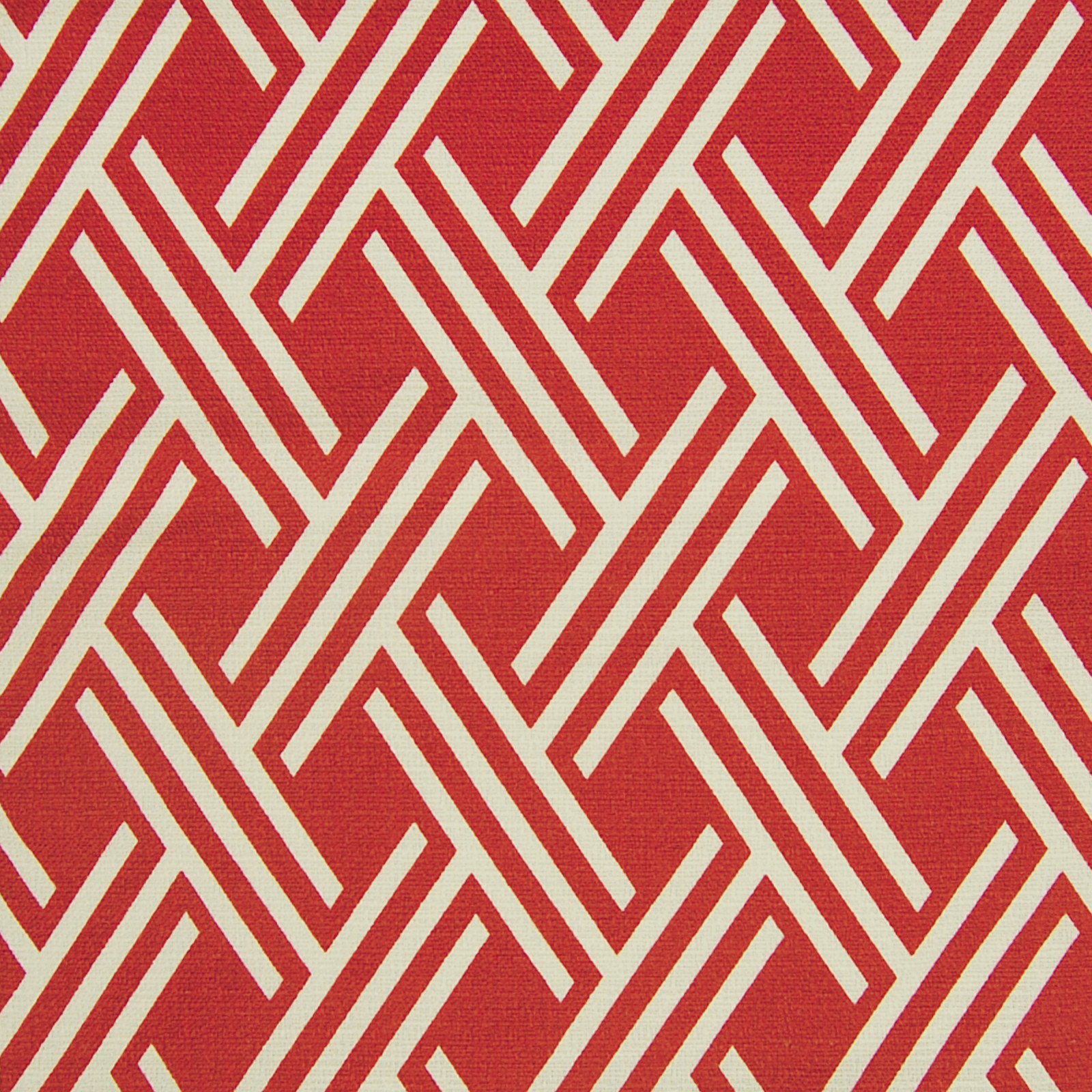 Rust Red Geometric Cotton Upholstery Fabric