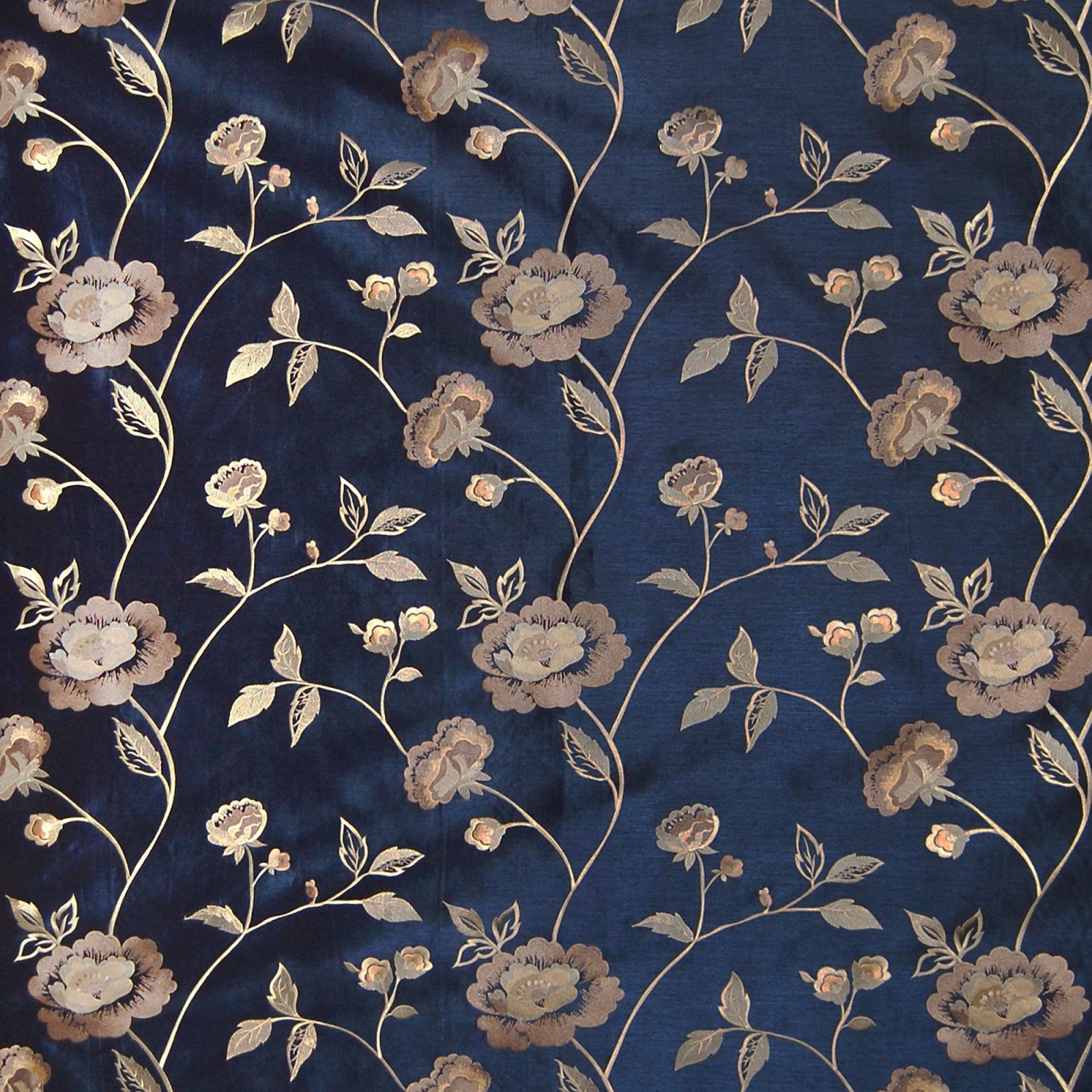 Navy Blue Floral Faux Silk Drapery And Upholstery Fabric