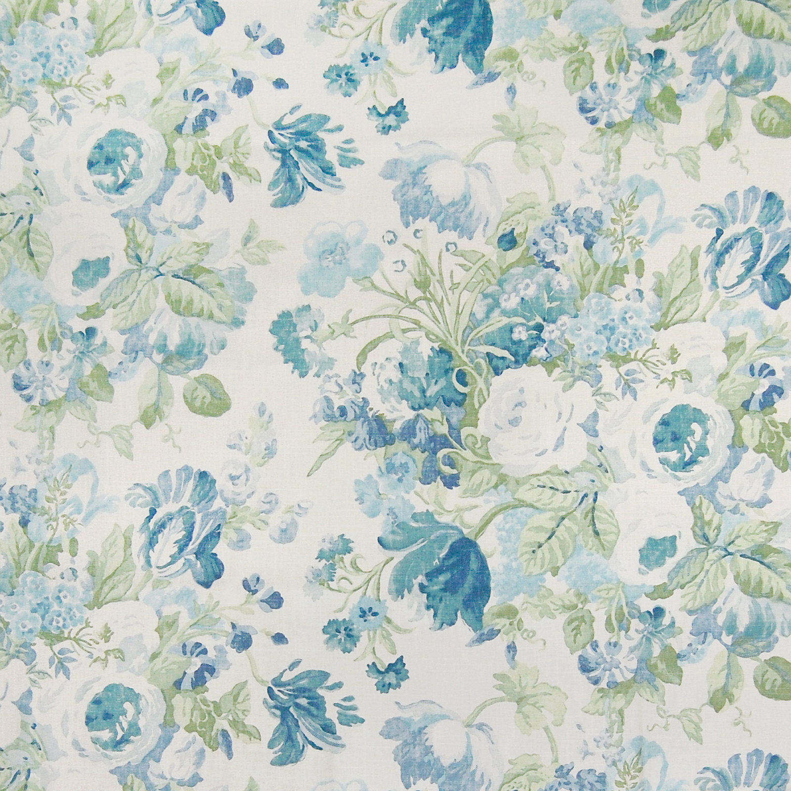 Bluebell Blue And Green Floral Linen Upholstery Fabric