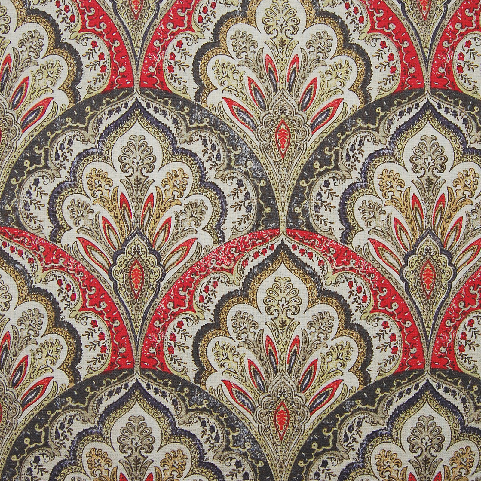 Fire Red Medallion Cotton Upholstery Fabric