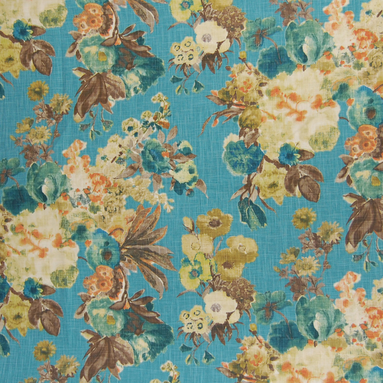 Lagoon Teal Floral Cotton Upholstery Fabric